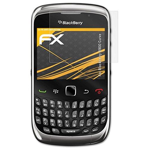 atFolix Panzerfolie kompatibel mit BlackBerry 8900 Curve Schutzfolie, entspiegelnde und stoßdämpfende FX Folie (3X) Blackberry Curve Handy