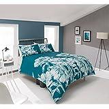 Pieridae - Juego completo de cama, funda nórdica, sábana bajera y funda de almohada, diseño floral, color turquesa, modelo Amelia, algodón poliéster, verde azulado, doble