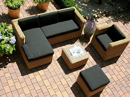 Lounge Wohnlandschaft Sofa Sessel Tisch Hocker Rattan Polyrattan Geflecht Gartenmöbel beige-braun Marseille