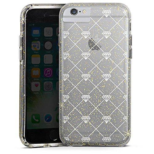 Apple iPhone 6s Bumper Hülle Bumper Case Glitzer Hülle Transparent mit Muster Diamant Diamanten Bumper Case Glitzer gold