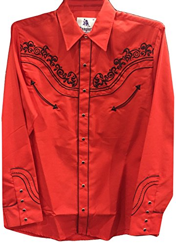 Modestone Men's Embroidered Long Sleeved Fitted Western Hemd Filigree Red L (Cattleman Ely Shirt Western)