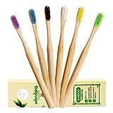 Spazzolino da denti in bambù, setole medie, senza bisfenolo A e vegani, in legno, ecologico, biodegradabile, con setole naturali per una cura dentale sana, colorato, confezione da 6