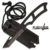 MC Survivor Neck Knife Taschenmesser Tanto Security Einhandmesser mit Halskette