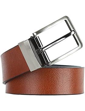 Leathario Cinturón Hombre de Cuero de Piel Dos Colores Diferentes En Un Mismo Cinturón Reversible Hebilla Pulida...