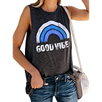 JIER Good Vibes Rainbow Tank Top Vintage sin Mangas, Camiseta con Estampado Informal, Camiseta, túnica, Blusa