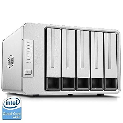 TerraMaster F5-420 5-Bay NAS Server Persönlicher Cloud mit Intel-Quad-Core 2,0GHz CPU 2GB-Speicher RAID Festplattengehäuse Kleiner Geschäfts- oder Privat-Cloudspeicher(Diskless)