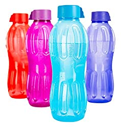 Signoraware Aqua Fresh Plastic Water Bottle, 500ml, Set of 4, Multicolour