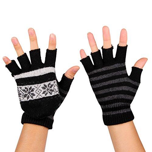 TININNA USB Cálido Invierno del copo de nieve de rayas guantes sin de