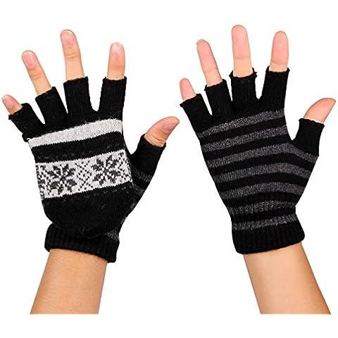 TININNA USB Cálido Invierno del copo de nieve de rayas guantes sin dedos climatizada para Chicas Chicos Color gris