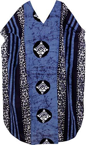 LA LEELA Frauen Damen Baumwolle Kaftan Tunika Batik Kimono freie Größe Lange Maxi Party Kleid für Loungewear Urlaub Nachtwäsche Strand jeden Tag Kleider Braun_C336 -