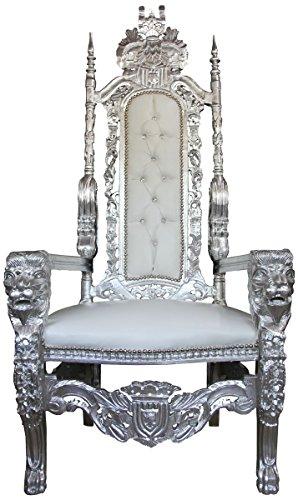 Casa Padrino Barock Thron Sessel Silber/Weiß Lederoptik mit Bling Bling Glitzersteinen - Königssessel- Hochzeitssessel - Riesensessel