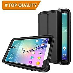 """PROTECK Coque Samsung Galaxy Tab E 9.6"""", Etui avec【Film de Protection Intégré】+【Mise en Veille Automatique】+【Antichoc】- Noire"""