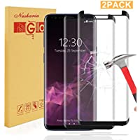 [2 Pièces] Galaxy S9 verre trempé, Nasharia Samsung Galaxy Protecteur d'écran Full Cover Black [Aucune erreur, aucune bulle] [Coque compatible] [Installation liquide], Film de protection d'écran pour Samsung Galaxy S9