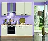 Küchenblock mit Glaskeramikkochfeld Klassik 210 cm in creme