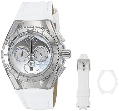 Technomarine Unisex 40mm Bracelet Silicone Blanc Boitier Acier Inoxydable Quartz Analogique Montre 115068