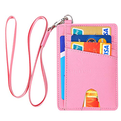 Yingg Schlanke minimalistische Geldbörse,Kreditkartenetui Mit RFID Schutz Kartenhalter Kartenetui Brieftasche Mini Geldbörse (Kreuz rosa)