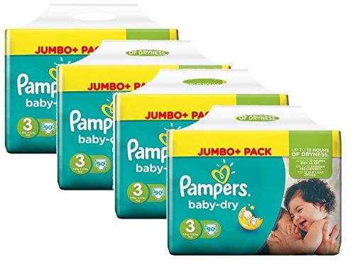 Pampers Baby Dry Größe 3 Midi 4-9kg Jumbo Plus Pack, 4er Pack (4 x 90 Windeln)