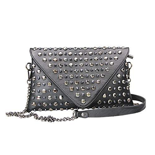 Poopy Damen weiches Leder Niet Ornament Umschlag Clutch Bag, Wallet & Crossbody Purse Abend Griff Taschen -