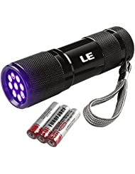 LE 9 LEDs Lampe Torche UV Portable, Lampe de poche à Ultraviolets en Métal, Rétro-éclairage, 395nm, pour traceurs fluorescents ou urine animale