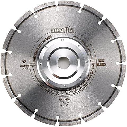 Ausonia-Disco de corte de diamante tipo universal soldadura por láser con flangia. para hormigón, cocido, cerámica, ladrillos y baldosas diámetro de 230 mm, calibre de 22,2 mm de grosor, 1,8 dientes, 2,4 x 40 x 7 cm