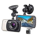 Eonon Dashcam Auto Nachtsicht, 4 zoll (10.2CM) Großer Bildschirm Auto Kamera Mit Front und Rück Dual Kamera, 1080P 180 Weitwinkelobjektiv Car DVR Recorder Auto, Dash cam mit Bewegungserkennung, Loop Aufnahme, Parküberwachung, G-Sensor, 24 Stunden Überwachung, Video Aufnahmemodus R0010 (Nachtsicht HD Dashcam)