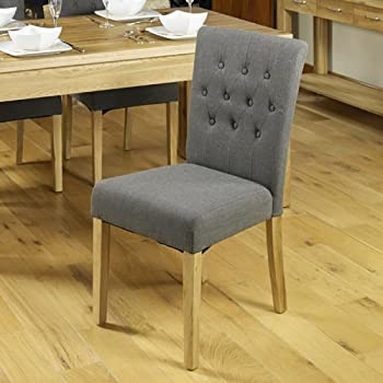 baumhaus mobel oak upholstered dining chair slate pack of two
