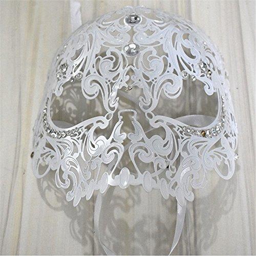 (ParttYMask Maskerade,Goldmetall 2018 Diamant Make-up Abschlussball Maske halbes Gesicht für Männer und Frauen Venedig Metall Schmiedeeisen Maske Weiß Masquerade)