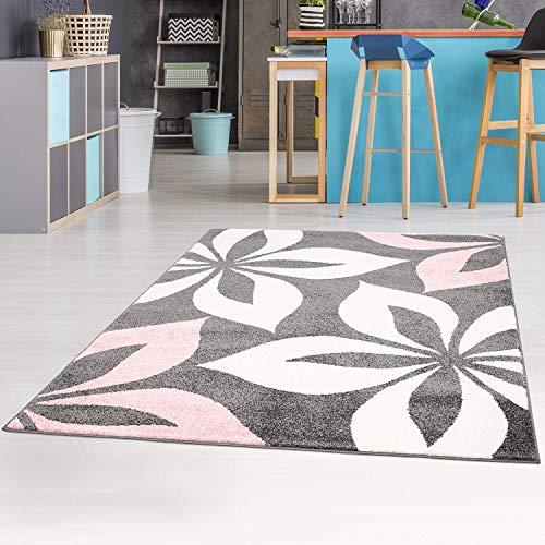 carpet city Teppich mit Blumen Moda Modern Flachflor in Rosa für Wohnzimmer, Kinderzimmer; Größe: 190x280 cm -