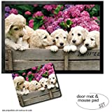Set: 1 Fußmatte Türmatte (70x50 cm) + 1 Mauspad (23x19 cm) - Hunde, Labrador Welpen Im Garten