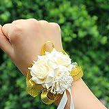 Originaltree Corsagewrist schiuma rose fiori da sposa polso corpetto festa di nozze braccialetto a nastro Champagne