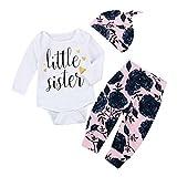 Kobay Neugeborenen Baby Mädchen Brief Strampler + Blumendruck Hosen 3 stücke Kleidung Set (70/3Monat, Weiß)