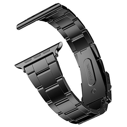 Apple Watch Armband, JETech 42mm Edelstahl Replacement Wrist Band mit Metallschließe Uhrenarmband für Apple Watch 42mm (Schwarz) - 2106