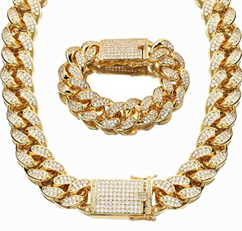 ZYLL 18Mmcuban Curb Bling Strass Miami Cuban Full Diamond Cuban Chain Goldbohrer Raue Halskette + Armband Set,30INCH Full Diamond Bling