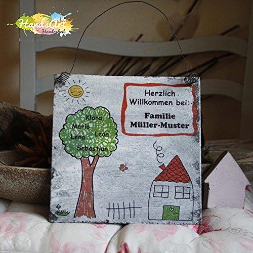 Shabby Style -Türschild Familie Haus mit Namensbaum