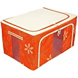 HOMIES INTERNATIONAL Brings Multipurpose European Style Fold-able Rectangular Shape Steel Frame Under bed Closet Organizer, Laundry Bag with Lid and Zip for Garments, Sarees, Woolens etc. Capacity: 88 Liters. Dimension: 63 (L) * 42 (B) * 33 (H) cms. Color: ORANGE. Floral Design,