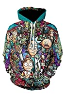 MingoTor Hombre Mujer Morty and Rick Sudadera con Capucha Sweatshirt Pulóver Hoodie 3D Unisexo