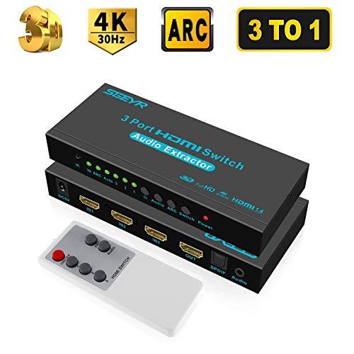 SGEYR Ultra HD HDMI Switch 3x1 4K HDMI Umschalter 3 Ports HDMI Switcher 3 In 1 Audio Extractor mit IR-Fernbedienung SPDIF und 3.5mm Audio Output Unterstützung ARC 4K@30Hz 3D 1080P Hdmi Switch 3 X 1