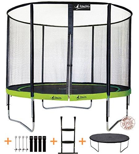 Kangui - Trampoline PUNCHI ALOE + échelle + couverture de propreté et kit d'ancrage - Vert et noir - Ø300cm - 360cm - 430cm