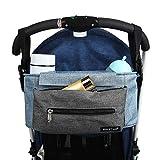 Kinderwagen Organizer, Universale Baby Kinderwagentasche Buggy Tasche mit Stahlring und verstellbaren Bändern (Blau)
