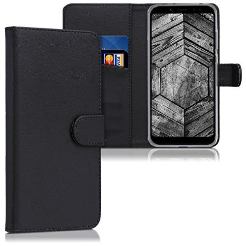kwmobile Funda para Xiaomi Redmi 5 Plus/Redmi Note 5 (China) - Carcasa de Cuero sintético - Case con Tapa y Tarjetero en Negro