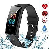 Danloryu Fitness Armband mit Pulsmesser Wasserdicht IP68 Fitness Tracker Uhr Farbbildschirm Aktivitätstracker Pulsuhren Schrittzaehler Stoppuhr Smart Fitness Uhr für Damen Herren (Rot)