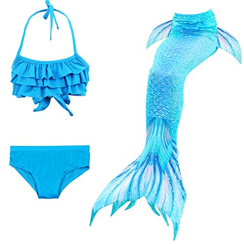 X-Labor Mädchen Cosplay Kostüm Meerjungfrauenschwanz zum Schwimmen 3pcs Bikini Sets Kinder Prinzessin Badeanzug Schwimmanzug blau 130cm