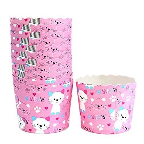 Blancho 150PCS Belles pièces de biscuits de tasses de papier de cuisson de motif de chat, rose