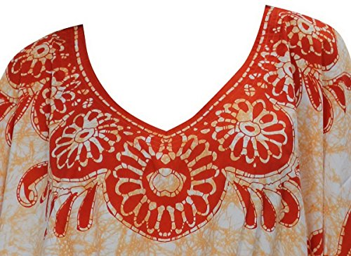 La Leela super weich likre Frauen mit V-Ausschnitt Kimono Badebekleidung caribbean Hibiskus Batik beiläufig plus Größe 4 in 1 Strand-Bikini-Vertuschung Tunika Lounge Grund Kleid Kaftan Orange