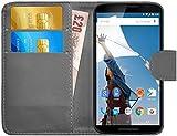 G-Shield Hülle für Google Nexus 6 Klapphülle mit Kartenfach - Grau