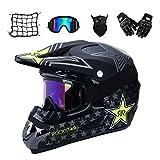 Gnohnay Motorrad Crosshelm mit Brille (5 Stück) - Adult Verhindern Kollisio Motocross Helm MTB...