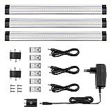LE 3er LED Unterbauleuchte Schrankleuchte, 12V DC, insgesamt 1800lm, LED Schrankbeleuchtung mit Stecker, ultra dünne Vitrinenbeleuchtung, Energiesparende Küchenlampen, Alle Zubehör inkl.