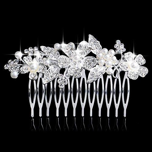 Miracle ® jouer desingner élégant peigne peigne plaqué argent avec 4 grands fleurs en perles et cristaux dans le centre, mariée mariage bijoux de cheveux