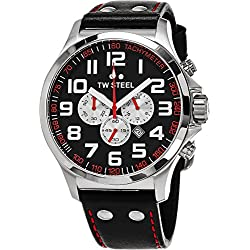 TW Steel Pilot XL Men's Quartz Watch with Black Dial Chronograph Display and Black Leather Strap TW - 415