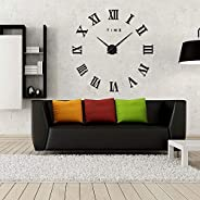 3D Large Wall Clock, Adhesive - Black - 016